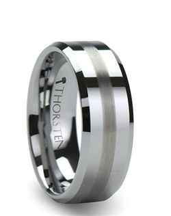 This line of Comfort Fit Tungsten Wedding Bands are made from high grade cobalt-free Tungsten Carbide.  This elegant ring has a 2 mm wide brushed stripe running down its center and beveled edges.  This ring can be worn as a Wedding Band or Promise Ring.  This style comes in both 6 mm and 8 mm for couples who prefer a matching set.  Larson Jewelers is proud to present our Tungsten Carbide Ring line.  Tungsten Carbide is the newest and strongest metal to be used in jewelry, ideal for men and women who are tired of rings that scratch easily.   Truly Free Lifetime Sizing and Lifetime Warranty on all tungsten rings, no exchange|sizing fees, which are charged by other retailers.