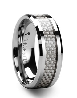 This stunning style from our carbon fiber Tungsten Rings line combines the high tech look of white carbon fiber and tungsten.  The comfort-fit tungsten carbide ring also has beveled edges and is one of the hottest selling styles in America.  Couples who want a matching set can pick from 4mm, 6 mm, 8 mm, 10 mm and 12 mm wide bands.  This is the perfect premium wedding band to represent your love and devotion.   Truly Free Lifetime Sizing and Lifetime Warranty on all tungsten rings, no exchange|sizing fees, which are charged by our competitors.
