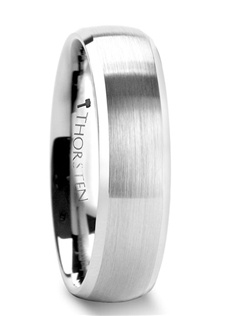 The classic domed style tungsten ring by Thorsten Tungsten Rings is given a new look by adding a brush finish to the exterior as well as polished bevels for just the right amount of shine.  The raw strength of tungsten carbide on these wedding bands are unmatched by any other material.  This simple yet elegant design is perfect for couples who prefer a more subtle look to their wedding rings.  This style is available in both 6 mm and 8 mm for couples who wish to have matching sets. Truly Free Lifetime Sizing and Lifetime Warranty on all tungsten rings, no exchange|sizing fees, which are charged by our competitors.