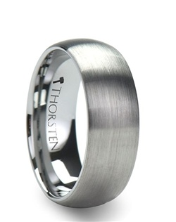 These classic domed style Tungsten Rings by Thorsten Rings have been given a new look by adding a brush finish to the exterior.  The raw strength of tungsten carbide on these wedding bands is unmatched by any other material.  This simple yet elegant design is perfect for couples who prefer a more subtle look to their wedding rings.  This style is available in 4 mm, 6 mm and 8 mm for couples who wish to have matching sets.   Truly Free Lifetime Sizing and Lifetime Warranty on all tungsten rings, no exchange|sizing fees, which are charged by our competitors.