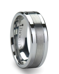 This selection of 6 mm and 8 mm handsome Thorsten Tungsten Rings are flat with dual offset grooves, polished edges and a satin finished center.  The raw strength of tungsten carbide on these wedding bands is unmatched by any other material and the design is the perfect combination of boldness and elegance.  For couples who want a matching set, purchase the 6 mm and 8 mm rings.  This ring looks great whether you are in the boardroom or in the living room.   Truly Free Lifetime Sizing and Lifetime Warranty on all tungsten rings, no exchange|sizing fees, which are charged by other retailers.
