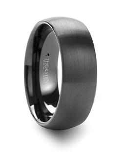 The classic domed style from our black tungsten wedding bands line is now available with brushed finish.  This ring style has a flat black finish that is brush finished to give it a  non-reflective appearance.  This ring comes in 4 mm, 6 mm, 8 mm, 10 mm and 12 mm wide for couples who want a matching set and can be worn as a Wedding Ring or Promise Ring.  Please note, Black Tungsten Carbide rings are very durable, but can be scratched. Truly Free Lifetime Sizing and Lifetime Warranty on all tungsten rings, no exchange|sizing fees, which are charged by other retailers.