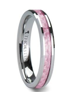 This fresh new style from our Women's Tungsten Rings line has beveled edges and beautiful inlay of pink carbon fiber.  It is available in 4 mm and 6 mm wide.  The carbon fiber is protected by an extremely durable resin that is also difficult to scratch.  The raw strength of tungsten carbide on these wedding bands is unmatched by any other material.  This is the perfect wedding band for a woman to represent the strength of her love and beauty.   Truly Free Lifetime Sizing and Lifetime Warranty on all tungsten rings, no exchange|sizing fees, which are charged by our competitors.