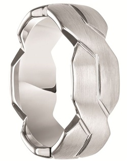 This cutting edge style Triton white tungsten ring features an unique angled cut style band.  The flat style ring has a bush finish and has infinity symbols skillfully carved all around.  This is a white tungsten ring, so it will have the same color as white gold or platinum.  Larson Jewelers is proud to be an authorized dealer of Triton Rings. Triton Rings is one of the most well known and respected designers of tungsten rings in the USA. All their rings come with a manufacturer's warranty that covers size exchanges for life, and repair or replacement in case of accidental damage. Note: There is a fee charged by Triton Rings, not us, for all warranty work to cover shipping and handling.