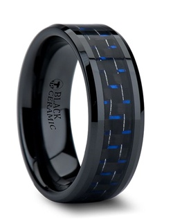 This rare wedding band style has the look of Black Tungsten Rings but, is actually an elegant combination of black and blue carbon fiber that has been inlaid into a black ceramic ring.  This comfort-fit band is 8 mm wide and has beveled edges.  This is the perfect wedding band to represent your love and unique personality. The Black Ceramic part of the ring does not scratch or lose its color, like black tungsten does.  Truly Free Lifetime Sizing and Lifetime Warranty on all tungsten rings, no exchange|sizing fees, which are charged by other retailers.