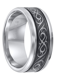 This 9mm wide Triton tungsten wedding features a stunning laser engraved celtic pattern on a black tungsten center with gorgeous polished light gray beveled edges.  Dual offset grooves separate the light and dark finishes and further highlight the intriguing engraved finish.  This band will surely capture the eye and is a beautiful wedding ring to represent your love and commitment. Larson Jewelers is proud to be an authorized dealer of Triton Rings. Triton Rings is one of the most well known and respected designers of tungsten rings in the USA. All their rings come with a manufacturer's warranty that covers size exchanges for life, and repair or replacement in case of accidental damage. Note: There is a fee charged by Triton Rings, not us, for all warranty work to cover shipping and handling.