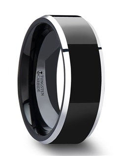 This elegant style from our Black Tungsten Rings line is truly a sporty design.  The polished black finished center of the ring gives it a glossy look for those who prefer the look of a sleep black sports car.  The polished metallic shiny beveled edges give the ring a nice contrast, perfect to catch the eye.  This style is available in 4 mm & 8 mm wide for couples who desire a matching set.  Larson Jewelers is proud to present our designer Black Tungsten Carbide Ring line by Thorsten.  Black Tungsten Carbide can be scratched as the black coating is made of a titanium alloy. Please note, Black Tungsten Carbide rings are very durable, but can be scratched. Truly Free Lifetime Sizing and Lifetime Warranty on all tungsten rings, no exchange|sizing fees, which are charged by other retailers.