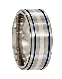 This Edward Mirell ring has brush finish and a marvelous design on a pipe cut ring. It is made of titanium which allows it to be light but still durable and scratch resistant. The blue anodized grooves provides great contrast with the silver inlay giving off a luxurious look. Larson Jewelers is proud to carry Edward Mirell jewelry, which is designed and manufactured in the USA. Edward Mirell is known for combining the latest technology and cutting edge design to create truly unique contemporary jewelry for men and women. All rings come with a certificate of authenticity and manufacturer's warranty that covers size exchanges for life, and repair or replacement in case of defective materials or workmanship. Note: There is a fee charged by Edward Mirell, not us, for all warranty work to cover processing, shipping, and handling of all warranty work.