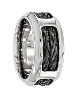 This Edward Mirell ring has a masculine look and contemporary style. It is made of titanium which allows it to be light but still durable and scratch resistant. The Steel cables within the ring add to the masculinity of this ring giving it a captivating desgin. Larson Jewelers is proud to carry Edward Mirell jewelry, which is designed and manufactured in the USA. Edward Mirell is known for combining the latest technology and cutting edge design to create truly unique contemporary jewelry for men and women. All rings come with a certificate of authenticity and manufacturer's warranty that covers size exchanges for life, and repair or replacement in case of defective materials or workmanship. Note: There is a fee charged by Edward Mirell, not us, for all warranty work to cover processing, shipping, and handling of all warranty work.