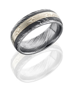 This stunning Damascus steel men's wedding band is 8mm wide with a custom dome design and grooved edges. This ring contains one 3mm of Sterling Silver bonded with Palladium inlay and is polished for a glossy finish.