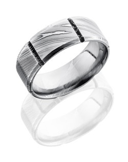 This unique Damascus steel men's wedding band is 8mm wide with a custom beveled design including six segments separated by vertical beveled concaves around the ring. This ring's simplistic design is subtle yet is bound to catch the eye.