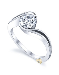 The Aerial engagement ring contains 1 diamond, totaling 0.005 ctw. Shown with a 1ct center diamond. Center stone sold separately, not included in price. Available in yellow, white, or rose gold, and platinum. Rings can be custom made to fit any size or shape diamond or color center stone. Price excludes center stone