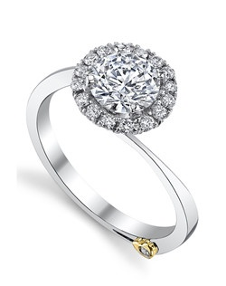 The Angelic engagement ring contains 17 diamonds, totaling 0.205 ctw. Shown with a 1ct center diamond. Center stone sold separately, not included in price. Available in yellow, white, or rose gold, and platinum. Rings can be custom made to fit any size or shape diamond or color center stone. Price excludes center stone