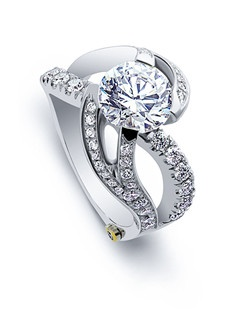 The Breathtaking engagement ring contains 1.07 ctw of diamonds. Shown with a 3ct center diamond. Center stone sold separately, not included in price. Available in yellow, white, or rose gold, and platinum. Rings can be custom made to fit any size or shape diamond or color center stone. Price excludes center stone