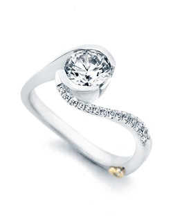 The Captivate engagement ring contains 15 diamonds, totaling 0.10 ctw. Shown with a 1ct center diamond. Center stone sold separately, not included in price. Available in yellow, white, or rose gold, and platinum. Rings can be custom made to fit any size or shape diamond or color center stone. Price excludes center stone