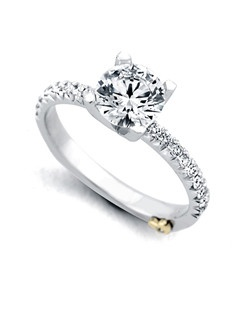 The Dapper ring contains 19 diamonds, totaling 0.255 ctw. Shown with a 1ct center diamond. Center stone sold separately, not included in price. Available in yellow, white, or rose gold, and platinum. Rings can be custom made to fit any size or shape diamond or color center stone. Price excludes center stone