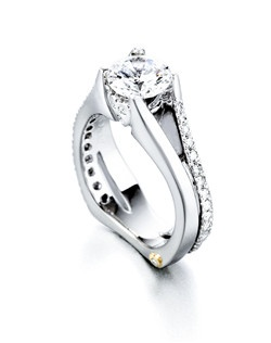 The Gleam engagement ring contains 35 diamonds, totaling 0.405ctw. Shown with a 1ct center diamond. Center stone sold separately, not included in price. Available in yellow, white, or rose gold, and platinum. Rings can be custom made to fit any size or shape diamond or color center stone. Price excludes center stone