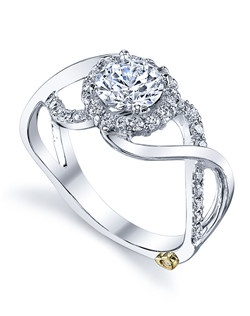 The Opulent engagement ring contains 38 diamonds, totaling 0.3775 ctw. Shown with a 1ct center diamond. Center stone sold separately, not included in price. Available in yellow, white, or rose gold, and platinum. Rings can be custom made to fit any size or shape diamond or color center stone. Price excludes center stone