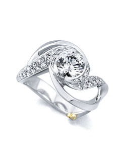 The Paramour engagement ring contains 37 diamonds, totaling 0.365ctw. Shown with a 1ct center diamond. Center stone sold separately, not included in price. Available in yellow, white, or rose gold, and platinum. Rings can be custom made to fit any size or shape diamond or color center stone. Price excludes center stone
