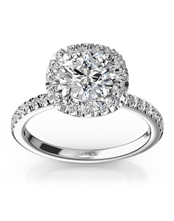 Simply pretty! This micro pave engagement ring represents simplicity of love and doesn't take no for an answer. Accent diamonds set in to this setting micro pave fashion and total of 0.45 ct. tw diamonds will surround the center stone of your choice. This ring is available in 14k, 18k, platinum and palladium.