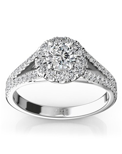 An eye catcher, this micro pave set split shank halo engagement ring set with 0.73 ct. tw. dazzling diamonds. Your choice of center stone will be source of light in this setting, reminding her one of the most memorable times of her life. This ring is available in 14k, 18k, platinum and palladium.