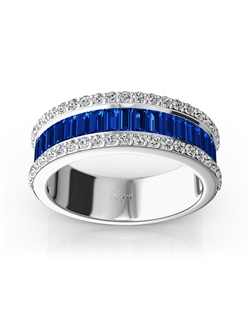 Faceted baguette cut sapphires are accented with round brilliant diamonds. This solid anniversary ring is furnished with 21 pieces 3x1.5mm straight baguette blue sapphires and GH-SI round diamonds. This gorgeous wedding band is available in 14k, 18k, platinum and palladium.