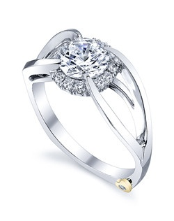 The Spectrum engagement ring contains 13 diamonds, totaling 0.125 ctw. Shown with a 1ct center diamond. Center stone sold separately, not included in price. Available in yellow, white, or rose gold, and platinum. Rings can be custom made to fit any size or shape diamond or color center stone. Price excludes center stone