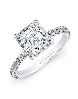 Asscher cut center diamond, 2.01 carats: side diamond, .30 total carat weight: in Platinum