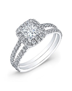 Princess-cut diamond, 1.30 carats, with micropavé; total weight 2.08 carats; white gold setting