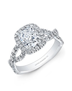 Cushion cut center diamond, 1.30 carat  E/ VS2: side diamond, .75 total carat weight: in 18k white gold and Palladium