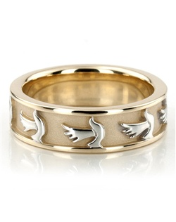An elegant Religious piece of jewelry, this 7mm wide Christian wedding band has dove of the Holy Spirit symbol evenly spaced all around at the center. This wedding band is also available in 8, 9, 10mm, and Two Color Gold. The band is high polished, with a matte background at the center.