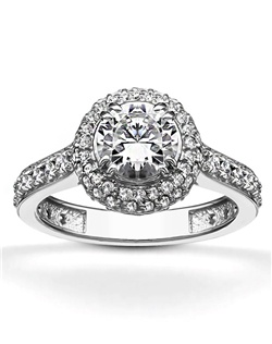 Designed for stylish bride. This antique design diamond engagement ring furnished with 0.66 ct. tw. G-SI or better diamonds. Diamonds are pave set for elegant beauty. This engagement ring is available in 14k, 18k, platinum and palladium.