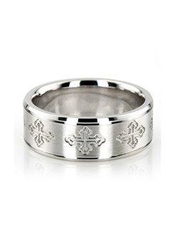 A master piece! This 8mm wide Religious wedding ring has a gorgeous cross cut pattern all around. It's complete with beveled edges. Center of the band is satin finish. Each side is high polished.