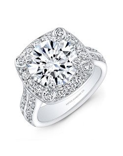 Round brilliant diamond, 3.21 carats, with micropavé; total weight 4.42 carats; platinum setting