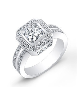 Radiant-Cut diamond, 1.20 carats, with micropavé; total weight 1 carat; 18k white gold setting