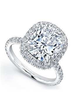 Cushion-Cut diamond, 6.88 carats, with micropavé; total weight 1 carats; platinum setting