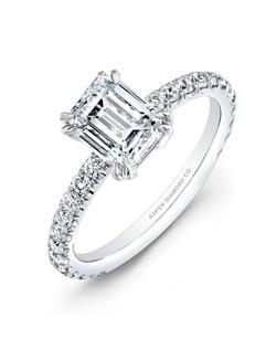 Emerald-cut diamond, 1.37 carats, with micropavé; total weight 1.87 carats; platinum setting