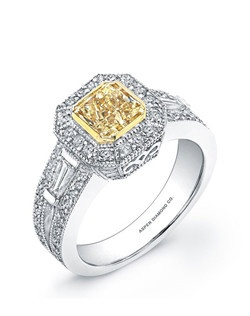 Radiant-cut yellow diamond, 1.01 carats, with micropavé; total weight 1.64 carats; white gold setting
