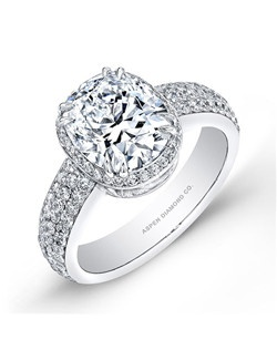 Oval diamond, 2.03 carats, with micropavé; total weight 2.78; platinum setting