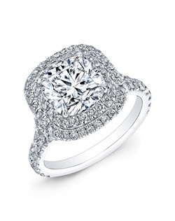 Cushion-cut diamond, 2 carats, with micropavé; total weight 1.75 carats; 18k white gold setting