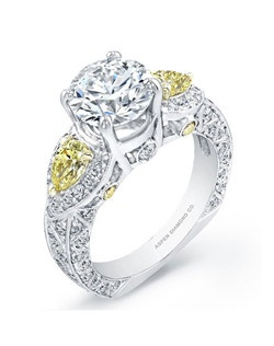 Round brilliant diamond, 1.80 carats, with micropavé, 2.70 total carats; yellow diamonds, .65; white gold setting