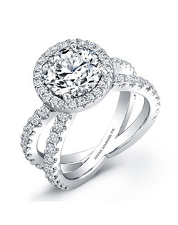 Round Brilliant Diamond Engagement Ring in18K White Gold