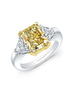 Radiant-cut Fancy Yellow Diamond, 2 carats; diamond total carat weight, .45 carats; platinum setting