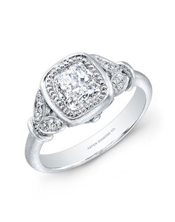 Cushion-Cut Diamond Engagement Ring in Platinum