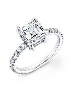 Asscher-cut diamond, 2.02 carats, with pavé; total weight 2.67; platinum setting