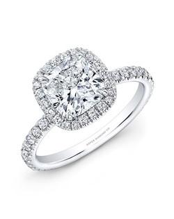 Cushion-cut diamond, 1.50 carats; side diamond total carat weight, .65 carats; 18k white gold setting