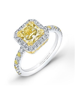 Radiant-cut yellow diamond, 1.55 carats, with micropaveé; total weight 2.23 carats; white gold setting
