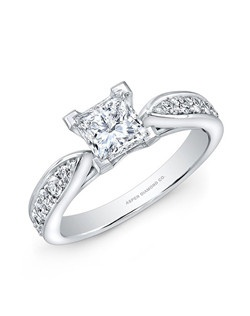 Princess-cut diamond, 1 carats; side diamond total carat weight, .30 carats; 18k white gold setting