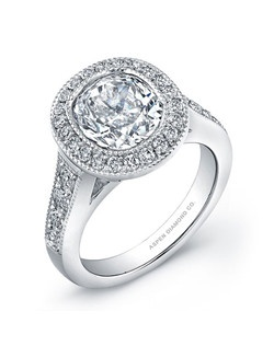 Round brilliant diamond, 1.50 carats, with micropavé; total weight 2.25 carats; white gold setting