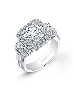 Round brilliant diamond, 3.12 carats, with micropavé; total weight 5.02 carats; white gold setting